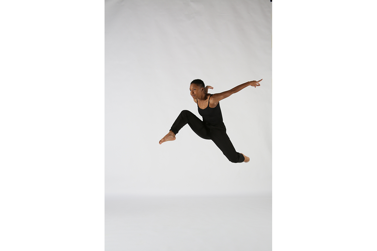 Dancer leaping in midair