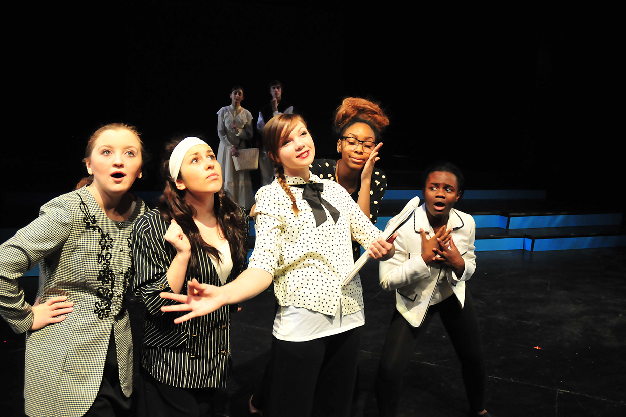 Student actresses on stage