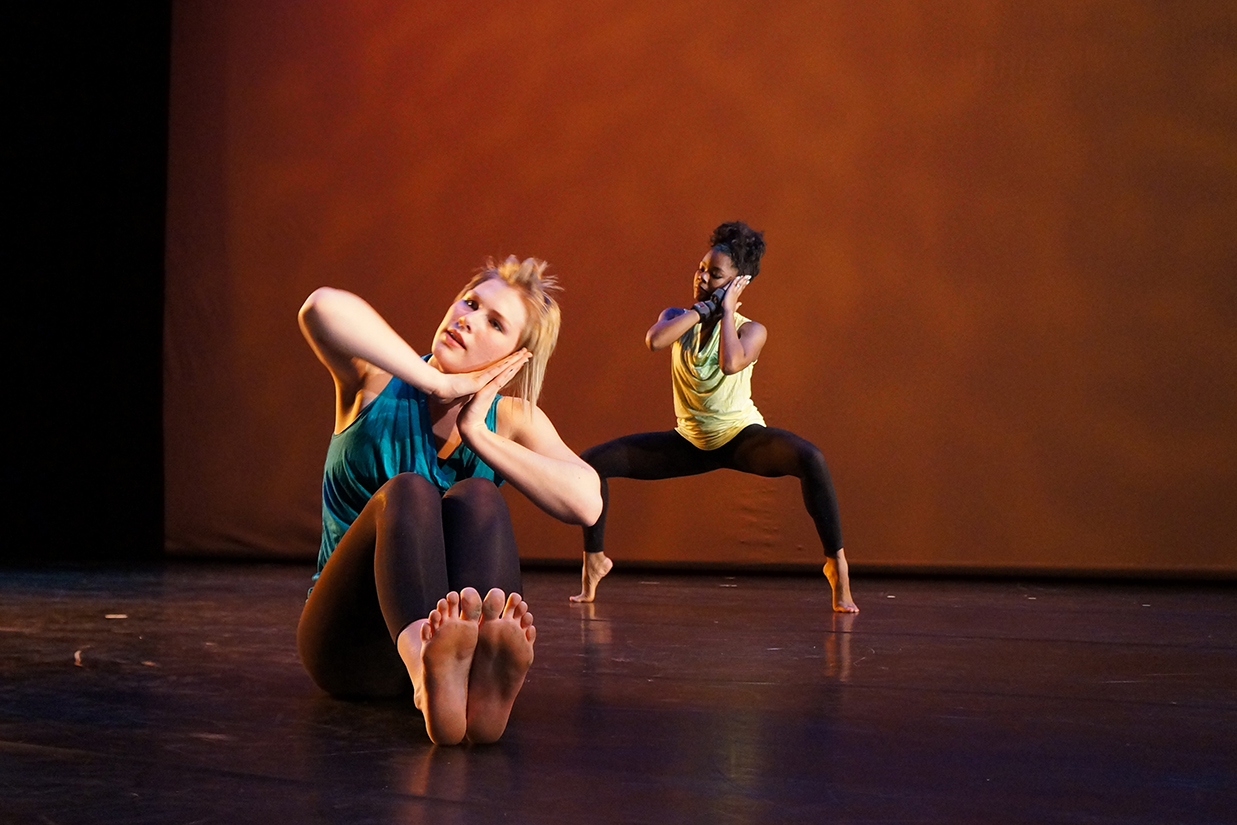 Two female dancers on stage