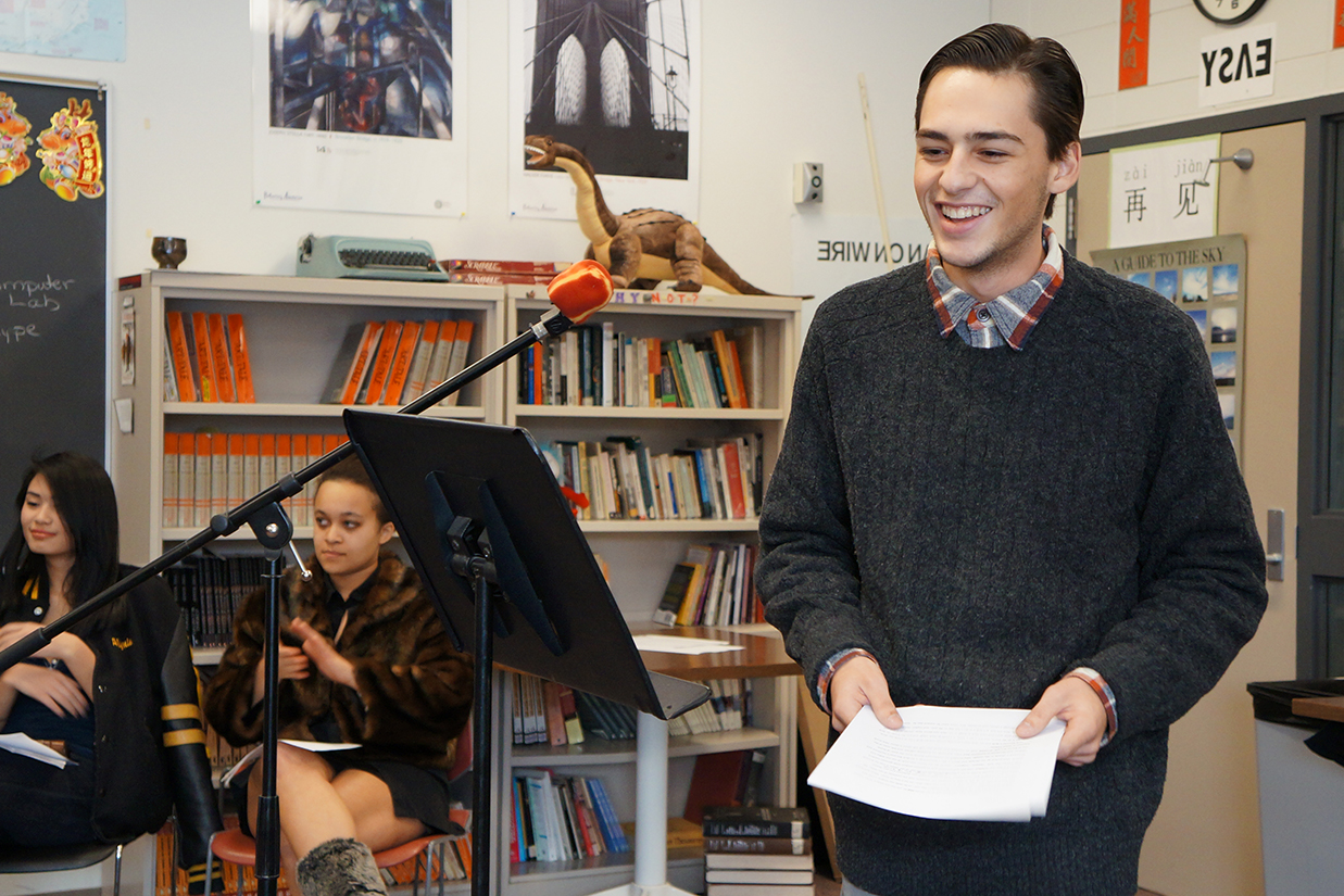 Male student presenting to the class
