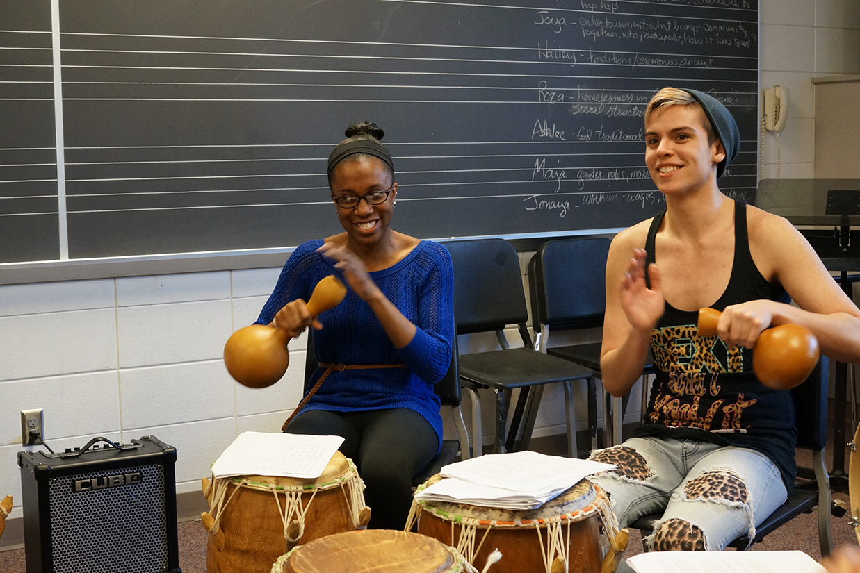 Percussion session in class